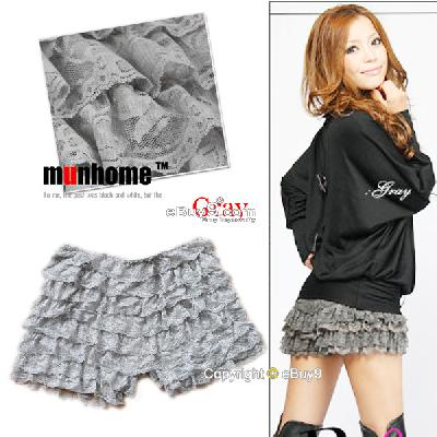 Women Girls gray Sexy Lace Pleated Safety Short Mini Cake Skirt Pants Qun7w-Gray
